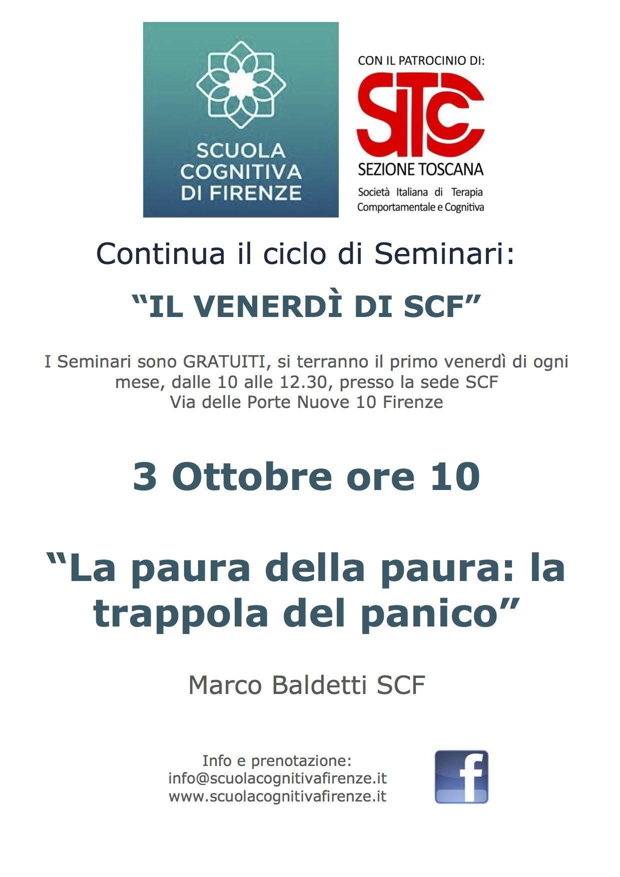 3 Ottobre - Seminario sul panico