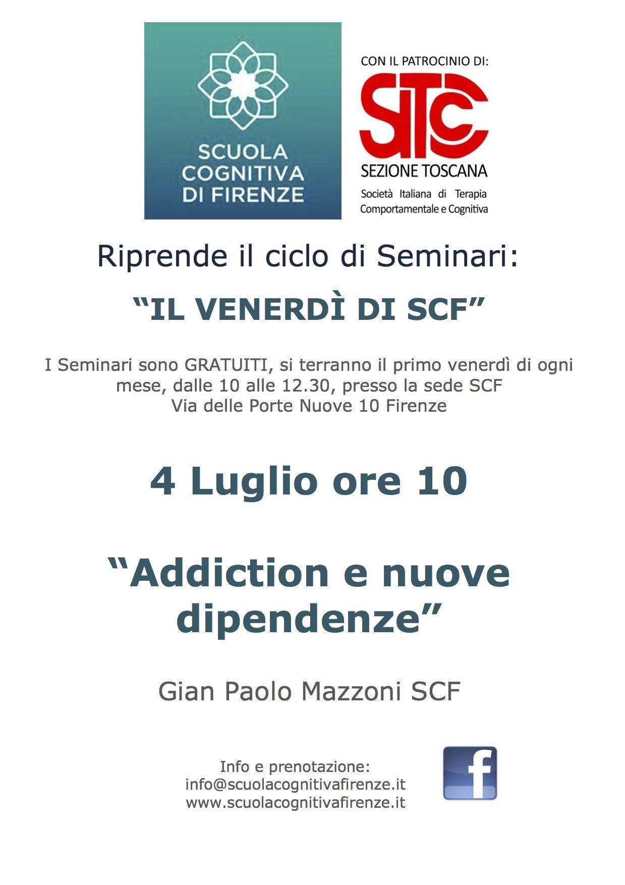 4 Luglio - Seminario Addiction e nuove dipendenze